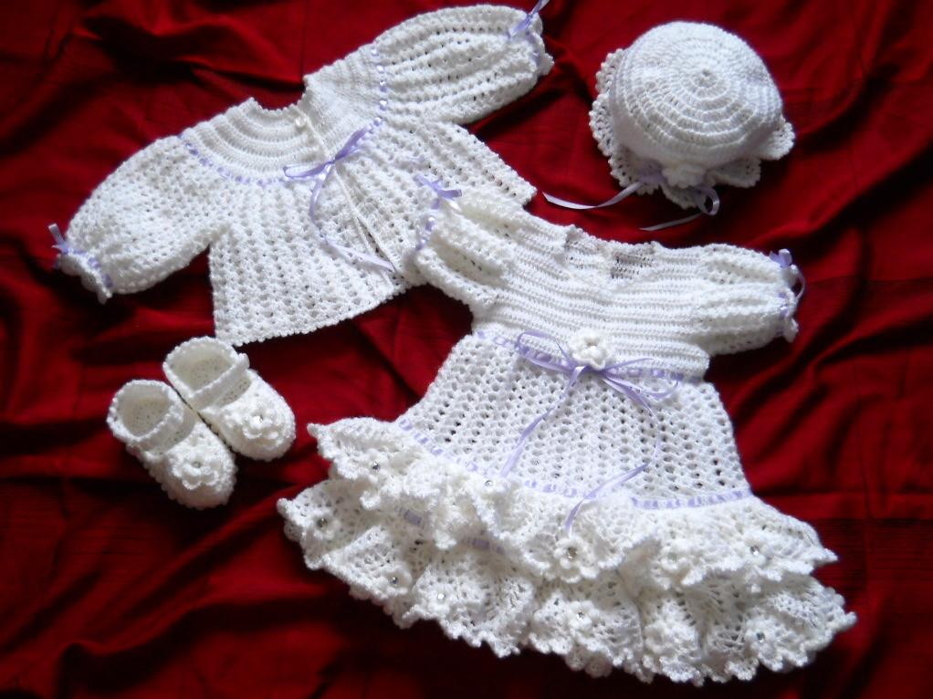"Set crosetat pentru botez-fetite ""Snow angel"""